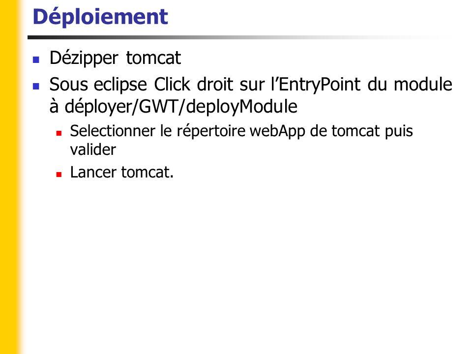 Déploiement Dézipper tomcat Sous eclipse Click droit sur l'EntryPoint du module à déployer/GWT/deployModule Selectionner le répertoire webApp de tomcat puis valider Lancer tomcat.