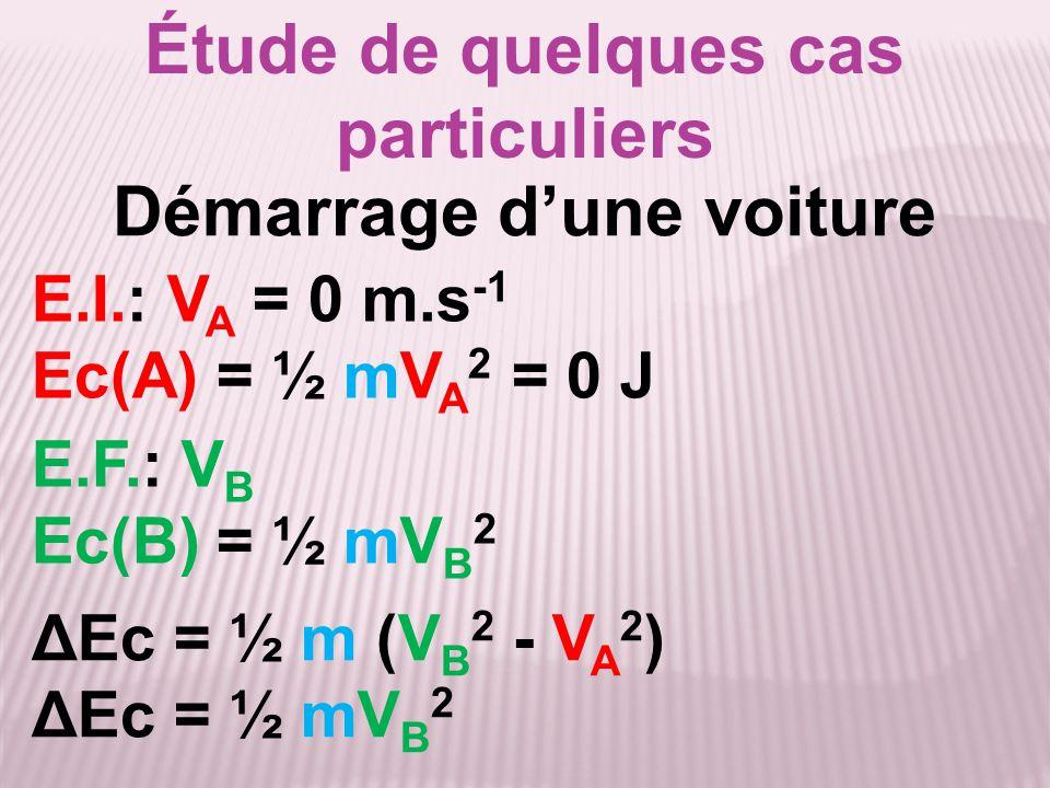 Étude de quelques cas particuliers ΔEc = ½ m (V B 2 - V A 2 ) ΔEc = ½ mV B 2 E.I.: V A = 0 m.s -1 Ec(A) = ½ mV A 2 = 0 J Démarrage d'une voiture E.F.: