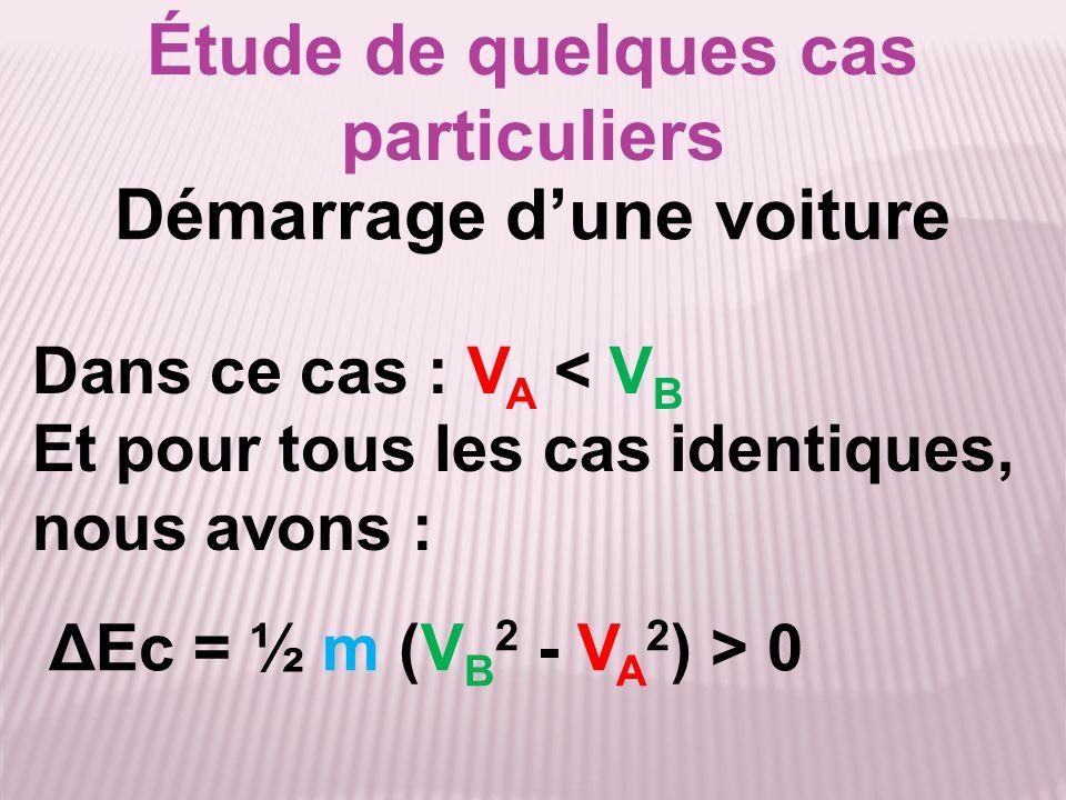 Étude de quelques cas particuliers ΔEc = ½ m (V B 2 - V A 2 ) ΔEc = - ½ mV A 2 E.I.: V A Ec(A) = ½ mV A 2 Arrêt d'une voiture E.F.: V B = 0 m.s -1 Ec(B) = ½ mV B 2 = 0 J