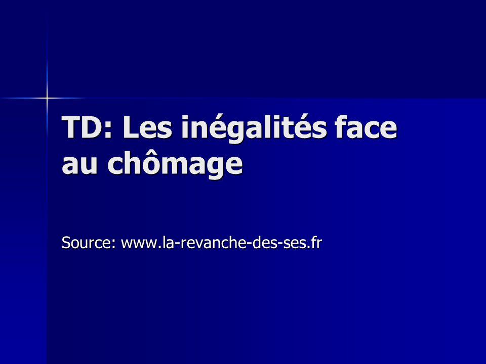TD: Les inégalités face au chômage Source: www.la-revanche-des-ses.fr