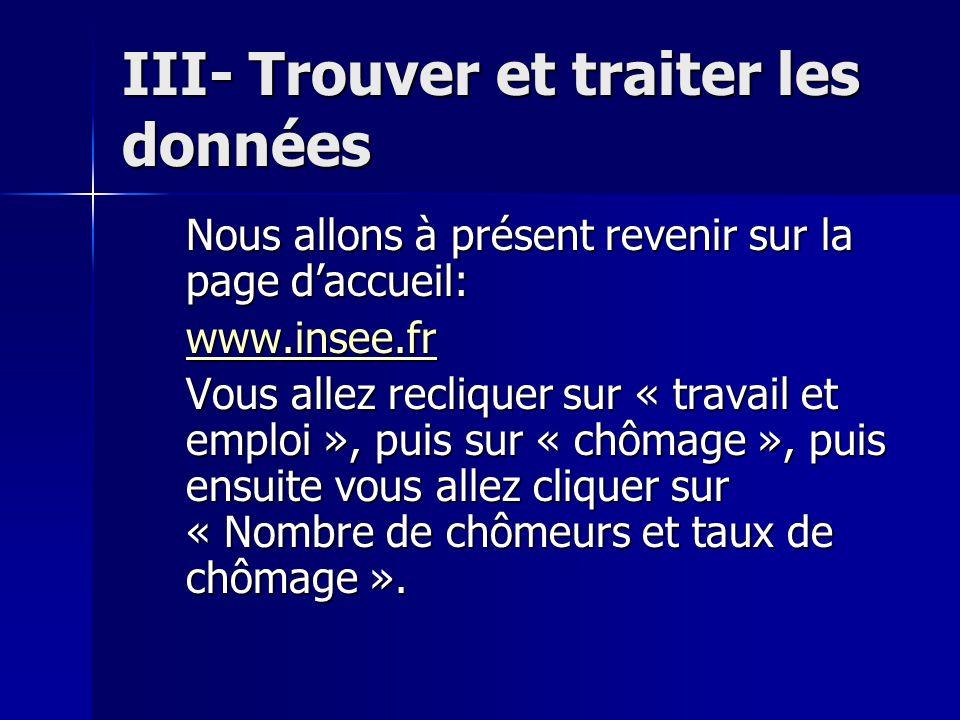 III- Trouver et traiter les données Nous allons à présent revenir sur la page d'accueil: www.insee.fr Vous allez recliquer sur « travail et emploi »,