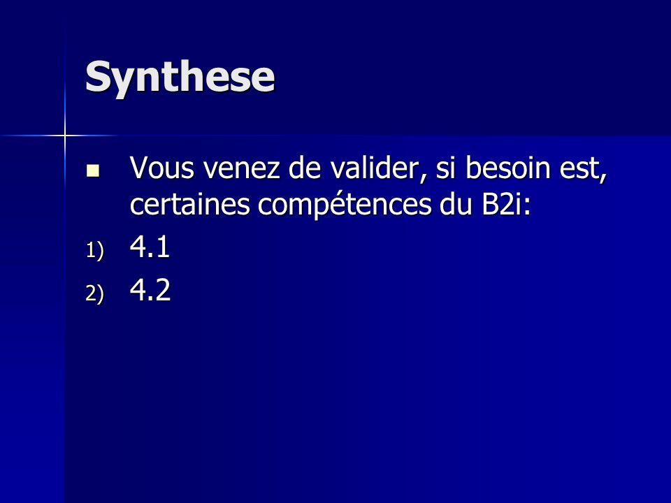 Synthese Vous venez de valider, si besoin est, certaines compétences du B2i: Vous venez de valider, si besoin est, certaines compétences du B2i: 1) 4.