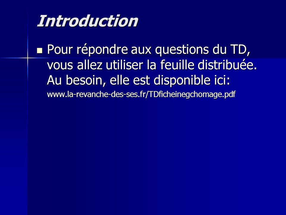 Introduction Pour répondre aux questions du TD, vous allez utiliser la feuille distribuée. Au besoin, elle est disponible ici: Pour répondre aux quest