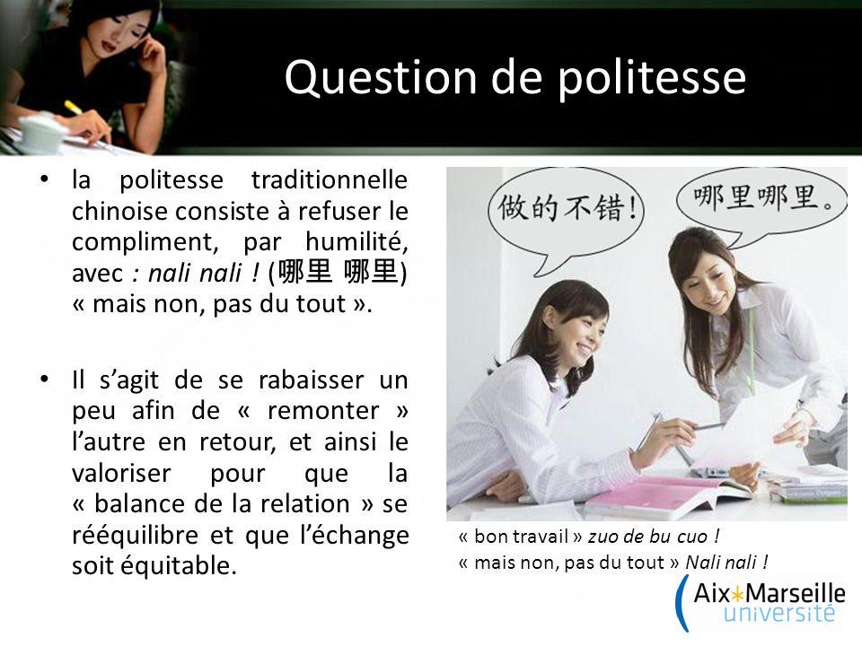 Question de politesse la politesse traditionnelle chinoise consiste à refuser le compliment, par humilité, avec : nali nali .
