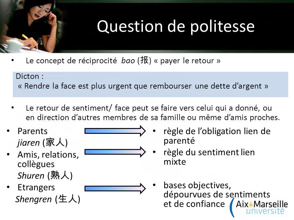 Question de politesse Le concept de réciprocité bao ( 报 ) « payer le retour » Le retour de sentiment/ face peut se faire vers celui qui a donné, ou en direction d'autres membres de sa famille ou même d'amis proches.