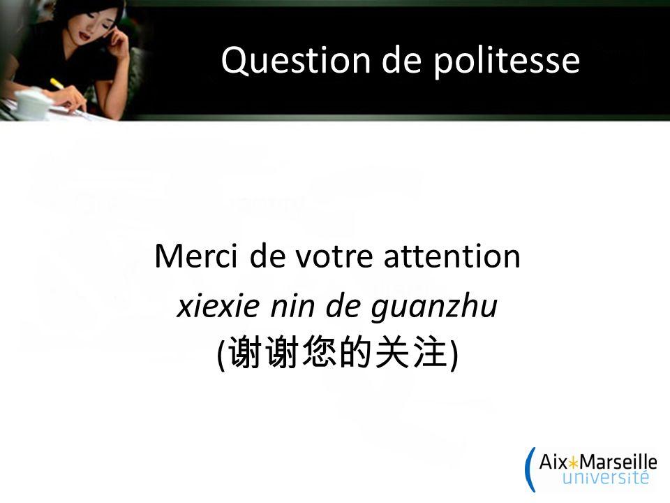 Question de politesse Merci de votre attention xiexie nin de guanzhu ( 谢谢您的关注 )