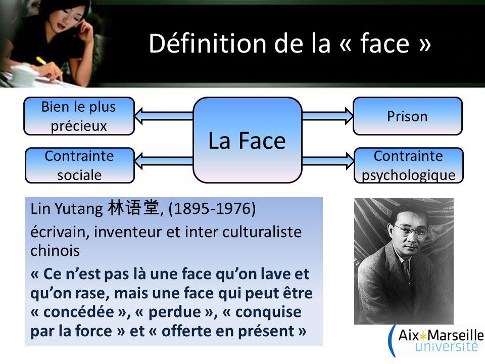 Définition de la « face » Lin Yutang 林语堂, (1895-1976) écrivain, inventeur et inter culturaliste chinois « Ce n'est pas là une face qu'on lave et qu'on rase, mais une face qui peut être « concédée », « perdue », « conquise par la force » et « offerte en présent » La Face Contrainte sociale Contrainte psychologique Bien le plus précieux Prison