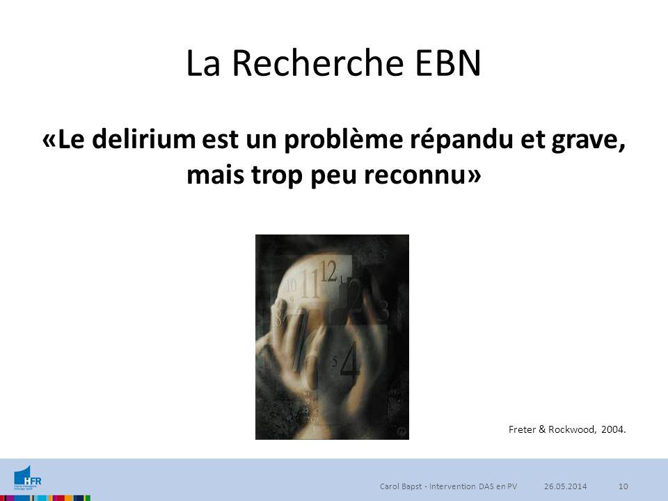 La Recherche EBN «Le delirium est un problème répandu et grave, mais trop peu reconnu» Carol Bapst - Intervention DAS en PV1026.05.2014 Freter & Rockw