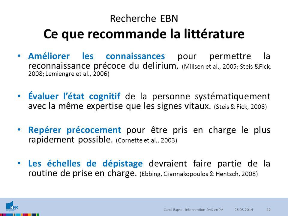 Recherche EBN Ce que recommande la littérature Améliorer les connaissances pour permettre la reconnaissance précoce du delirium. (Milisen et al., 2005