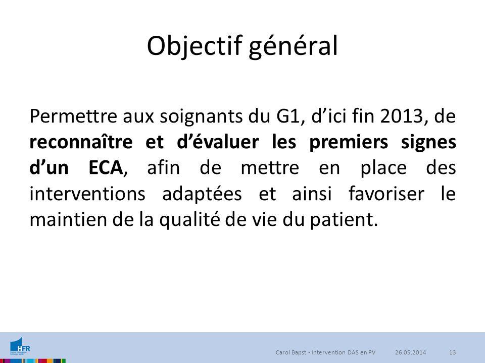 Objectif général Permettre aux soignants du G1, d'ici fin 2013, de reconnaître et d'évaluer les premiers signes d'un ECA, afin de mettre en place des