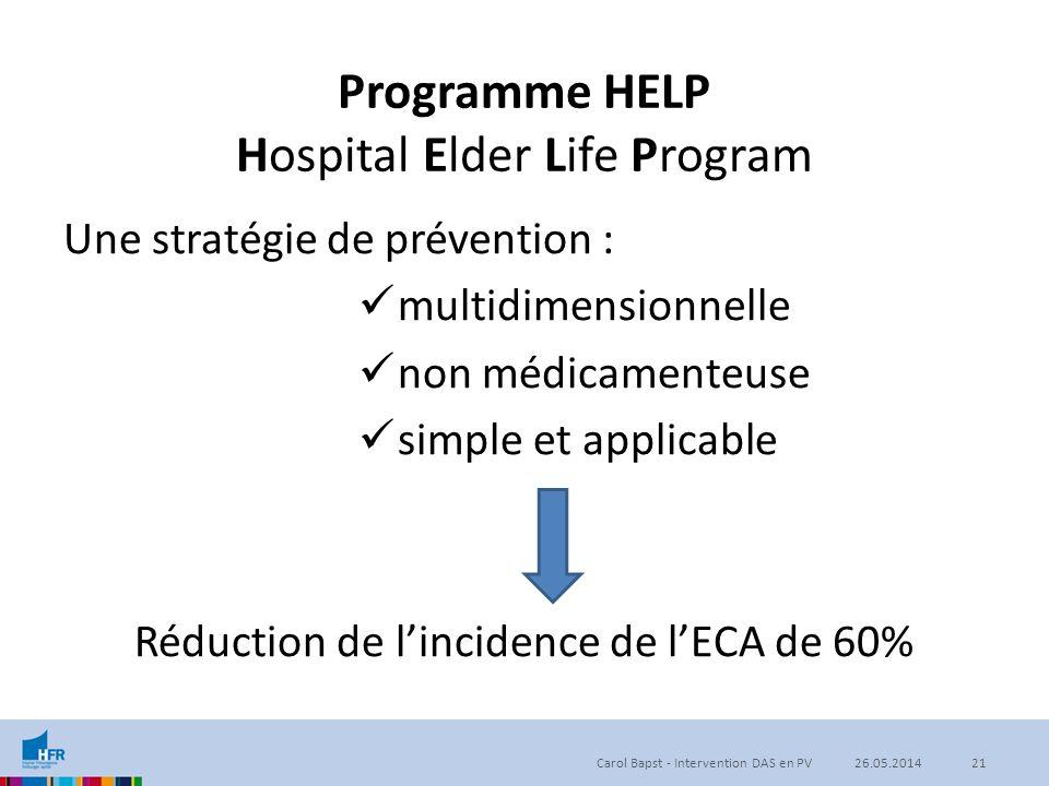 Programme HELP Hospital Elder Life Program Une stratégie de prévention : multidimensionnelle non médicamenteuse simple et applicable Réduction de l'in