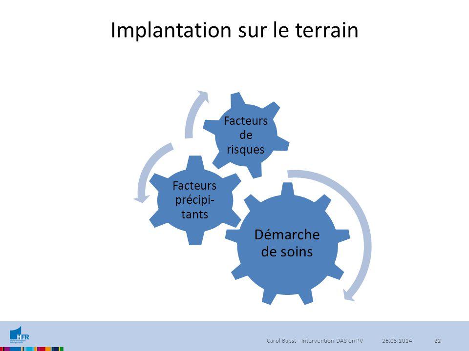 Implantation sur le terrain Démarche de soins Facteurs précipi- tants Facteurs de risques Carol Bapst - Intervention DAS en PV2226.05.2014