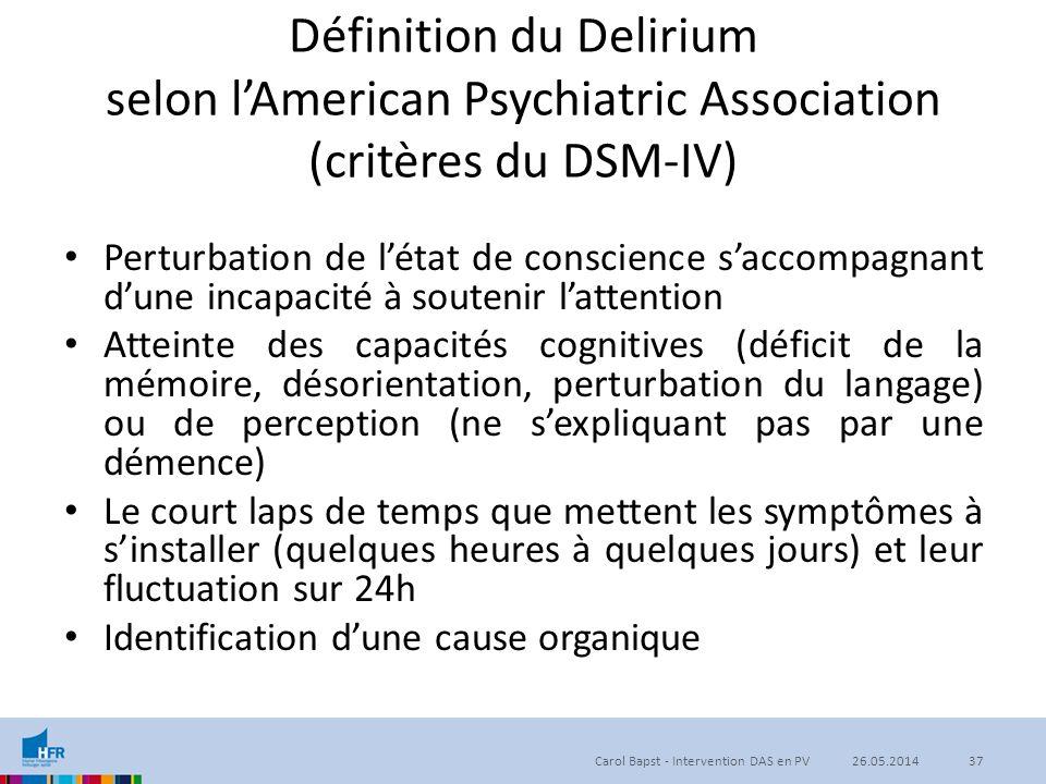 Définition du Delirium selon l'American Psychiatric Association (critères du DSM-IV) Perturbation de l'état de conscience s'accompagnant d'une incapac