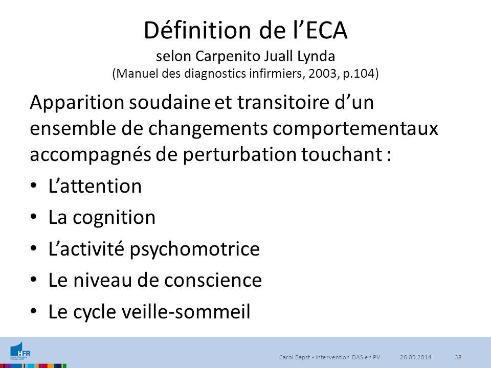 Définition de l'ECA selon Carpenito Juall Lynda (Manuel des diagnostics infirmiers, 2003, p.104) Apparition soudaine et transitoire d'un ensemble de c