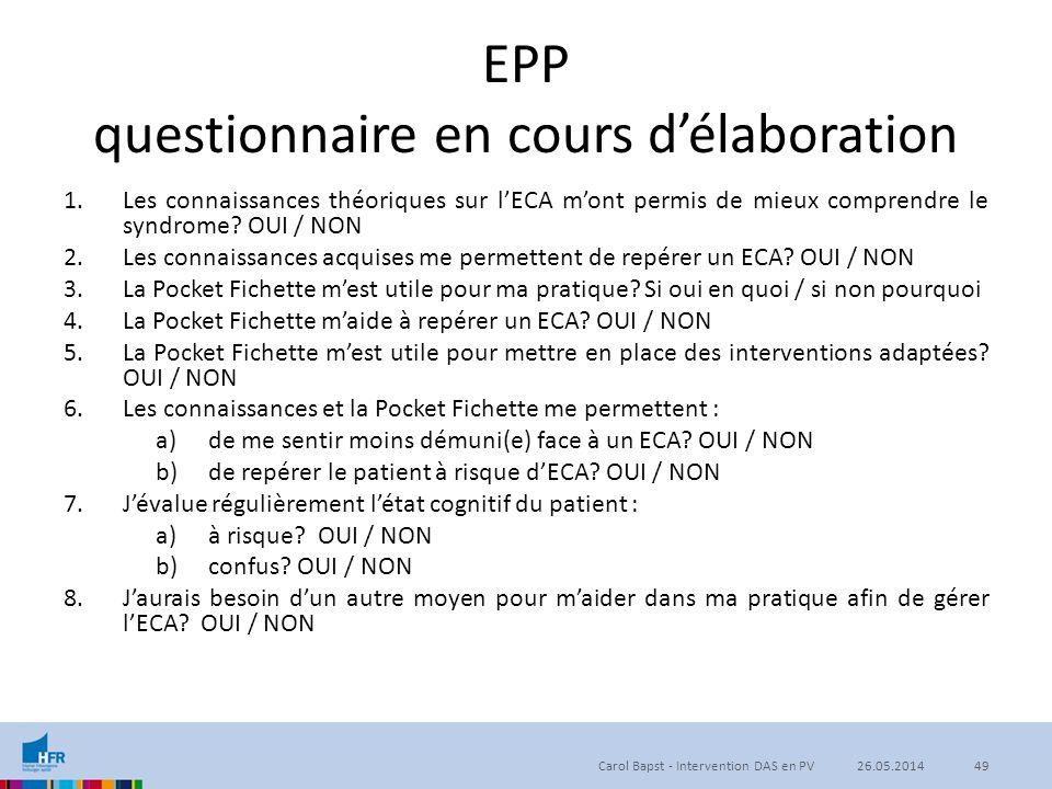 EPP questionnaire en cours d'élaboration 1.Les connaissances théoriques sur l'ECA m'ont permis de mieux comprendre le syndrome? OUI / NON 2.Les connai
