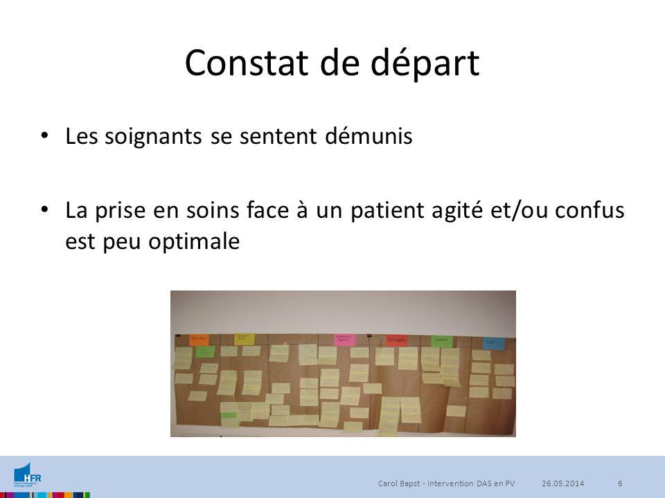 Constat de départ Les soignants se sentent démunis La prise en soins face à un patient agité et/ou confus est peu optimale Carol Bapst - Intervention