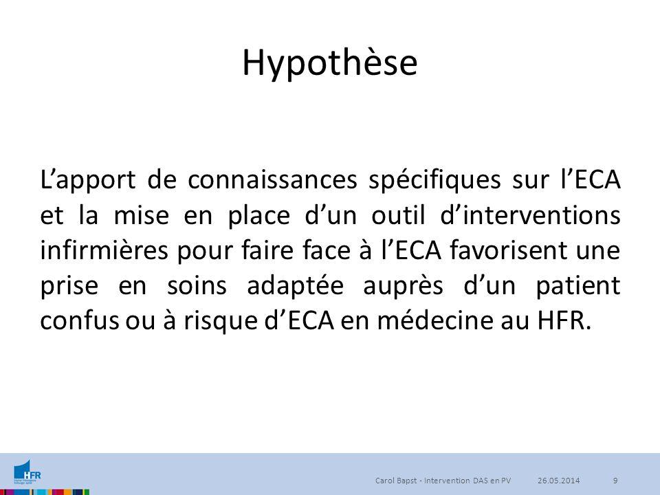 Hypothèse L'apport de connaissances spécifiques sur l'ECA et la mise en place d'un outil d'interventions infirmières pour faire face à l'ECA favorisen