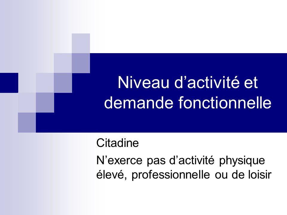 Niveau d'activité et demande fonctionnelle Citadine N'exerce pas d'activité physique élevé, professionnelle ou de loisir