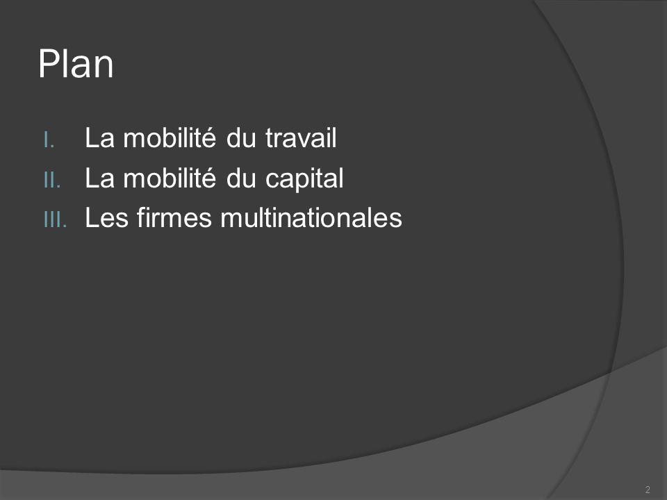 Plan I. La mobilité du travail II. La mobilité du capital III. Les firmes multinationales 2