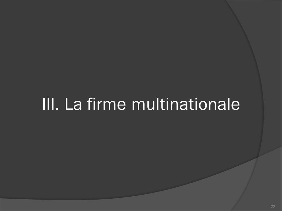 III. La firme multinationale 22