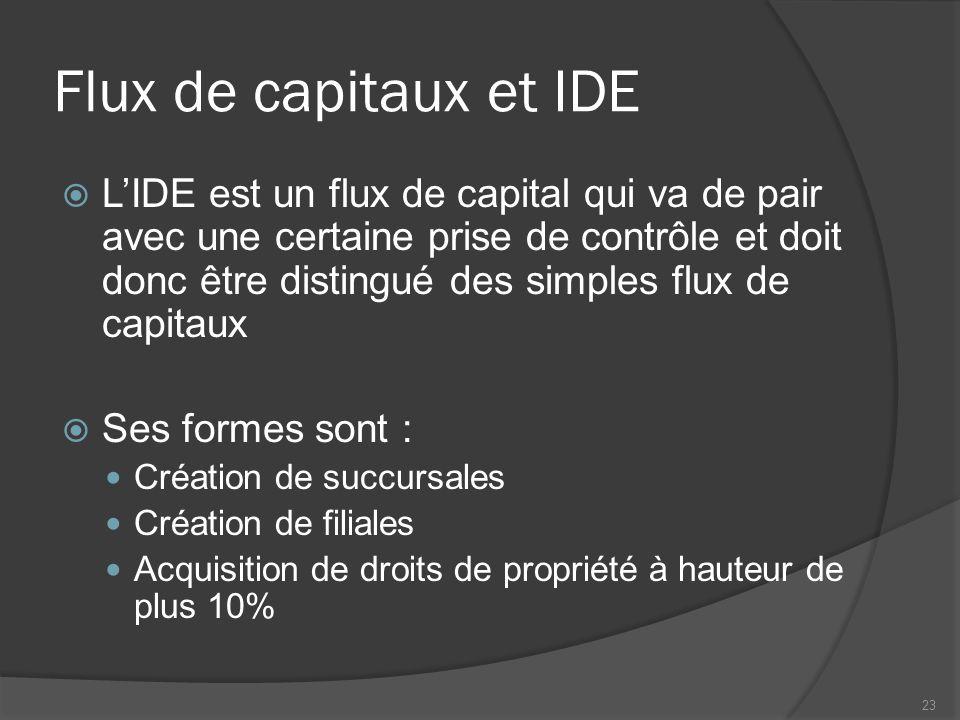 Flux de capitaux et IDE  L'IDE est un flux de capital qui va de pair avec une certaine prise de contrôle et doit donc être distingué des simples flux