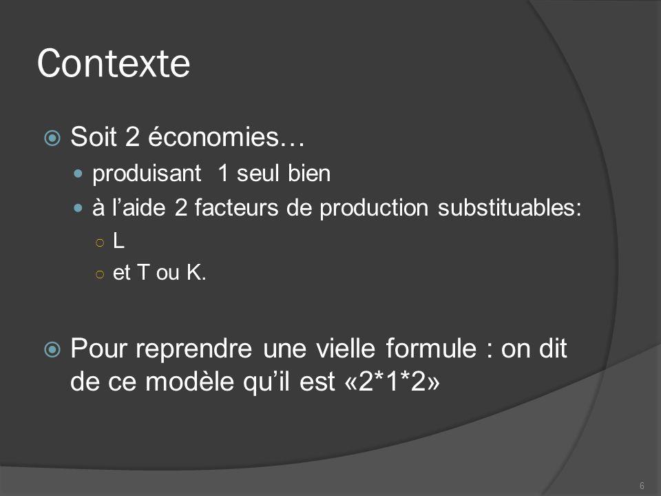 Contexte  Soit 2 économies… produisant 1 seul bien à l'aide 2 facteurs de production substituables: ○ L ○ et T ou K.  Pour reprendre une vielle form