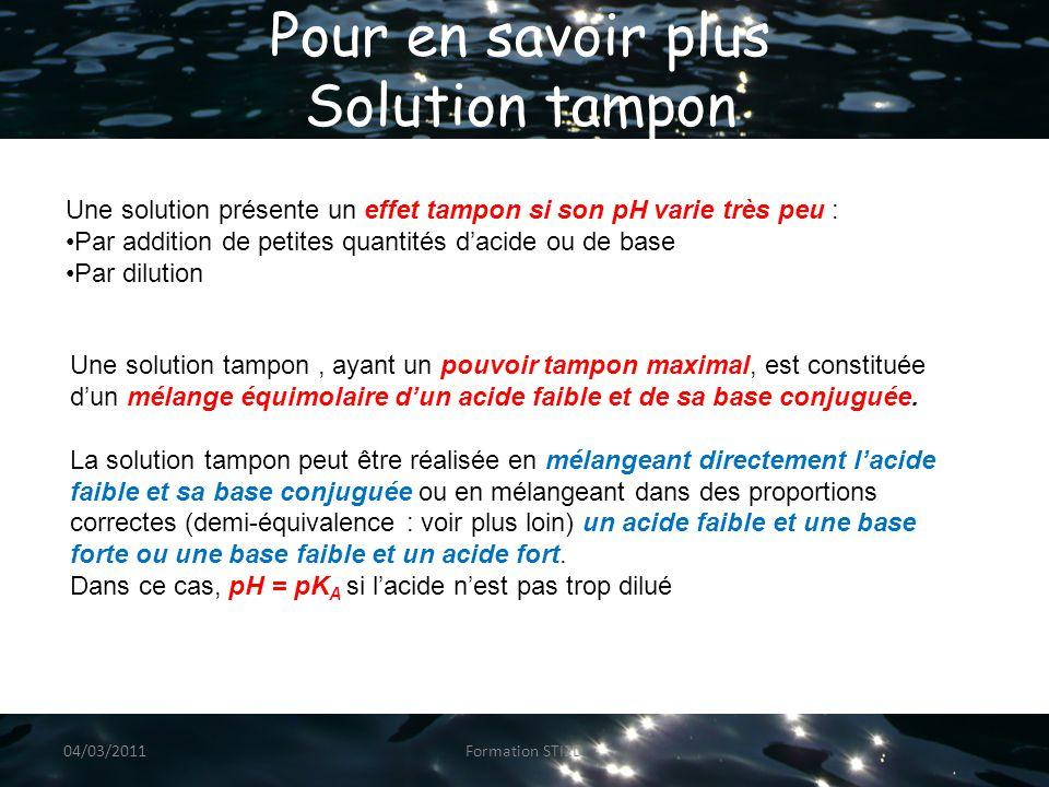 Pour en savoir plus Solution tampon Une solution présente un effet tampon si son pH varie très peu : Par addition de petites quantités d'acide ou de base Par dilution Une solution tampon, ayant un pouvoir tampon maximal, est constituée d'un mélange équimolaire d'un acide faible et de sa base conjuguée.