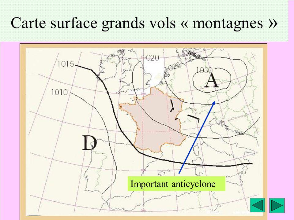 météo montagne Fièque JP11 Carte surface grands vols « montagnes » Important anticyclone