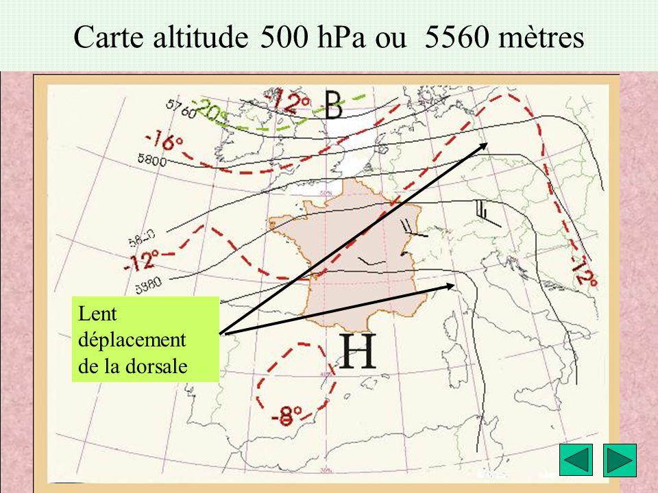 météo montagne Fièque JP14 Carte altitude 500 hPa ou 5560 mètres Lent déplacement de la dorsale