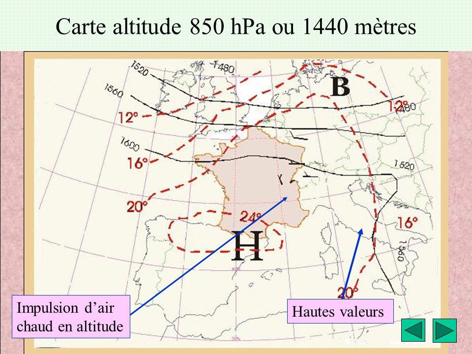 météo montagne Fièque JP15 Carte altitude 850 hPa ou 1440 mètres Hautes valeurs Impulsion d'air chaud en altitude