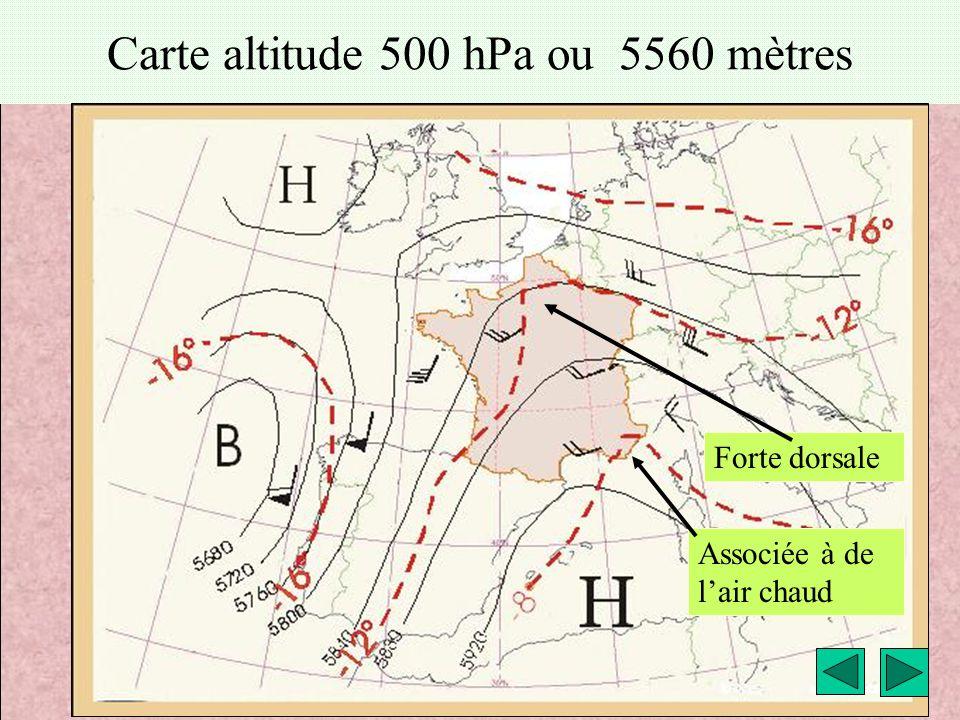 météo montagne Fièque JP19 Carte altitude 500 hPa ou 5560 mètres Forte dorsale Associée à de l'air chaud