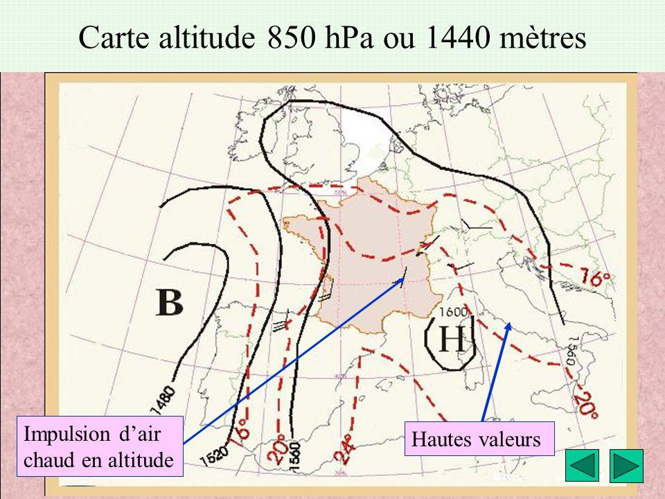 météo montagne Fièque JP20 Carte altitude 850 hPa ou 1440 mètres Hautes valeurs Impulsion d'air chaud en altitude