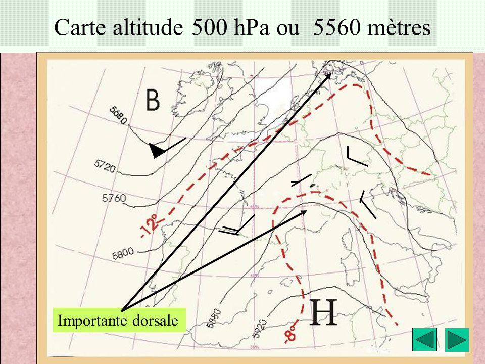 météo montagne Fièque JP4 Carte altitude 500 hPa ou 5560 mètres Importante dorsale
