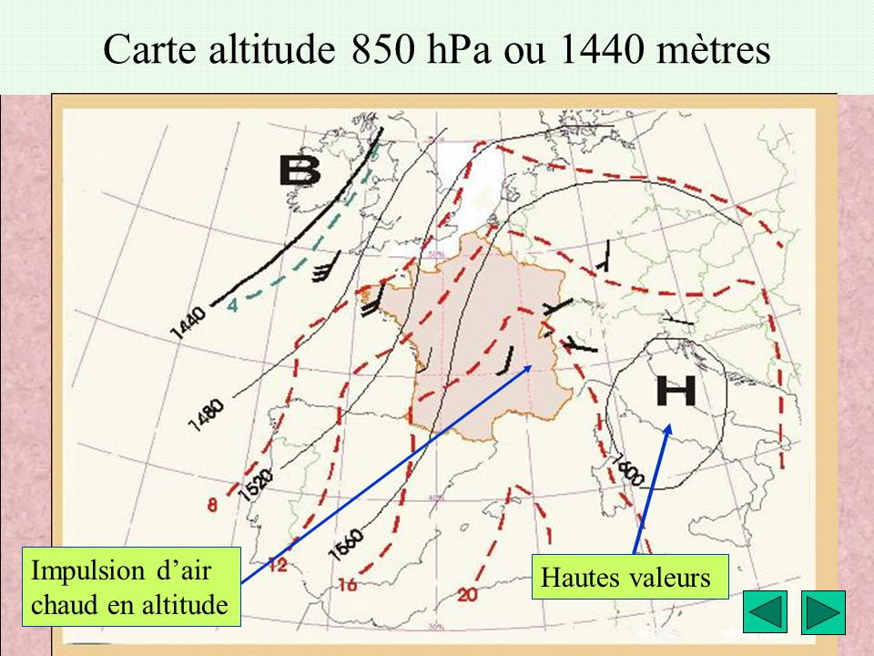 météo montagne Fièque JP5 Carte altitude 850 hPa ou 1440 mètres Hautes valeurs Impulsion d'air chaud en altitude