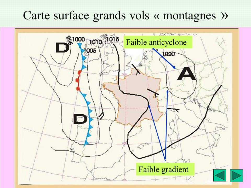 météo montagne Fièque JP6 Carte surface grands vols « montagnes » Faible anticyclone Faible gradient
