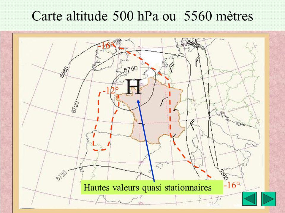 météo montagne Fièque JP9 Carte altitude 500 hPa ou 5560 mètres -12° -16° Hautes valeurs quasi stationnaires