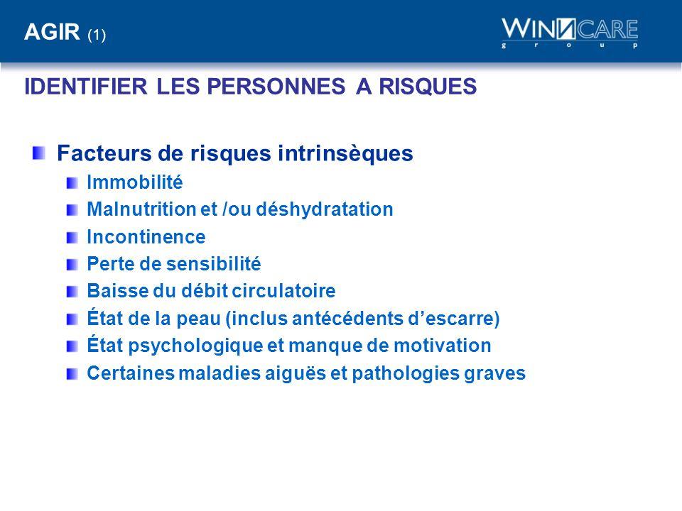 AGIR (1) IDENTIFIER LES PERSONNES A RISQUES Facteurs de risques intrinsèques Immobilité Malnutrition et /ou déshydratation Incontinence Perte de sensi