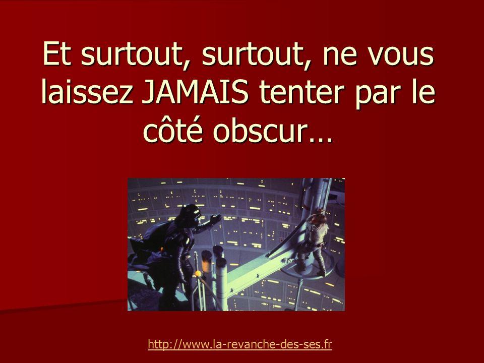 Et surtout, surtout, ne vous laissez JAMAIS tenter par le côté obscur… http://www.la-revanche-des-ses.fr