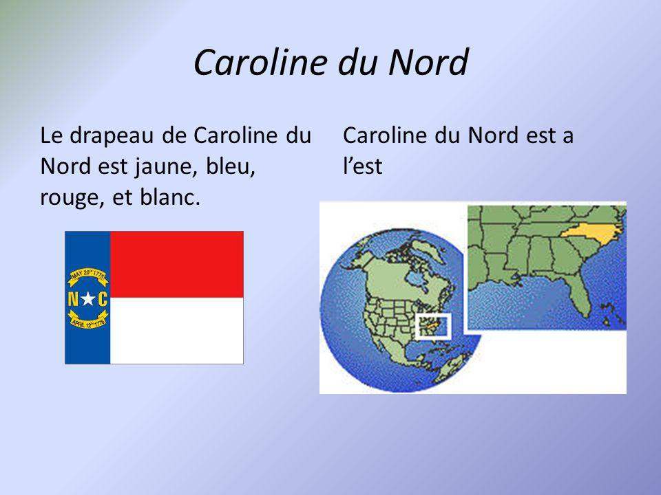 Caroline du Nord Le drapeau de Caroline du Nord est jaune, bleu, rouge, et blanc. Caroline du Nord est a l'est