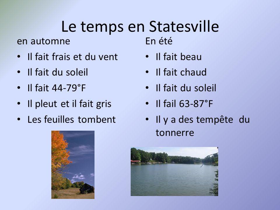 Le temps en Statesville en automne Il fait frais et du vent Il fait du soleil Il fait 44-79°F Il pleut et il fait gris Les feuilles tombent En été Il