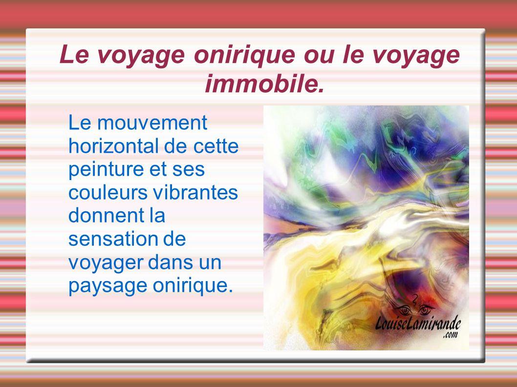 Le voyage onirique ou le voyage immobile. Le mouvement horizontal de cette peinture et ses couleurs vibrantes donnent la sensation de voyager dans un