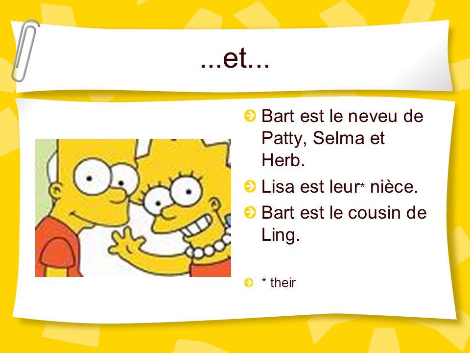 ...et... Selma a une fille adoptée, qui s'appelle Ling. C'est la cousine de Bart, Lisa et Maggie. C'est la nièce de Marge.