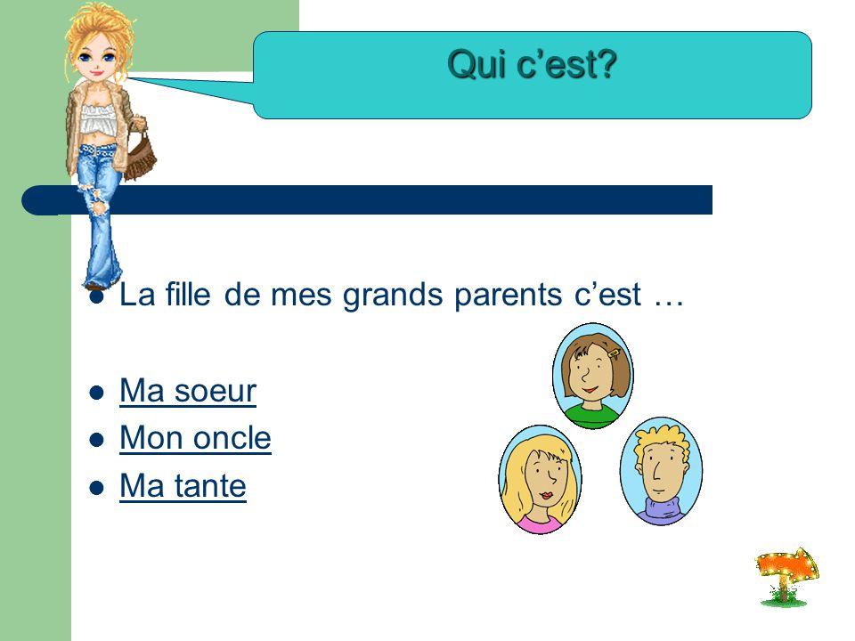 La mère de ma mère c'est … Mon grand-père Mon grand-père Ma tante Ma grand-mère Qui c'est?