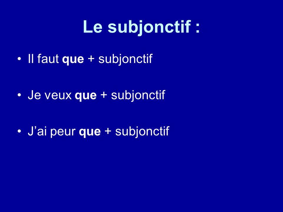 Le subjonctif : Il faut que + subjonctif Je veux que + subjonctif J'ai peur que + subjonctif