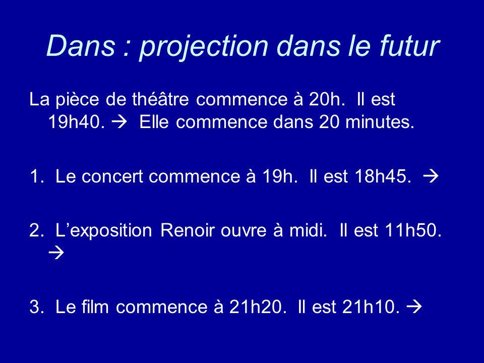 La pièce de théâtre commence à 20h. Il est 19h40.  Elle commence dans 20 minutes. 1. Le concert commence à 19h. Il est 18h45.  2. L'exposition Renoi