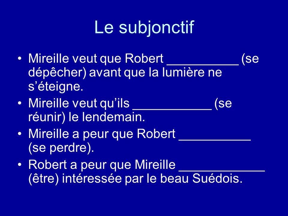 Le subjonctif Mireille veut que Robert __________ (se dépêcher) avant que la lumière ne s'éteigne. Mireille veut qu'ils ___________ (se réunir) le len