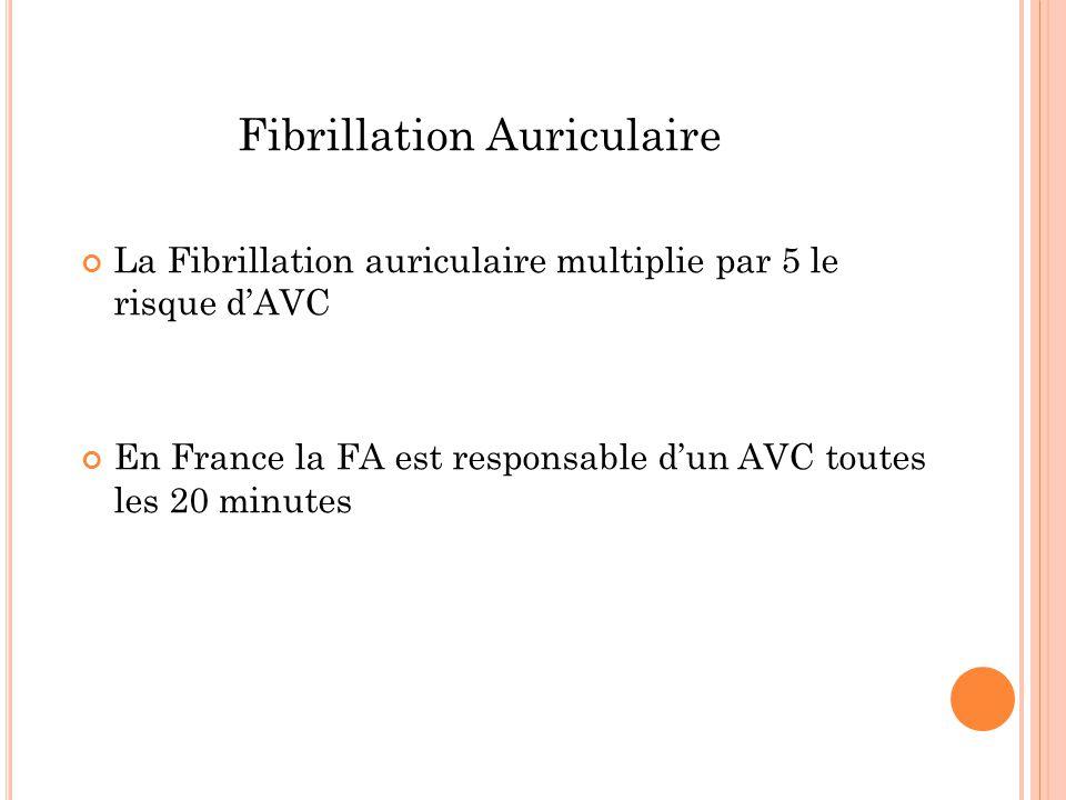 Fibrillation Auriculaire La Fibrillation auriculaire multiplie par 5 le risque d'AVC En France la FA est responsable d'un AVC toutes les 20 minutes