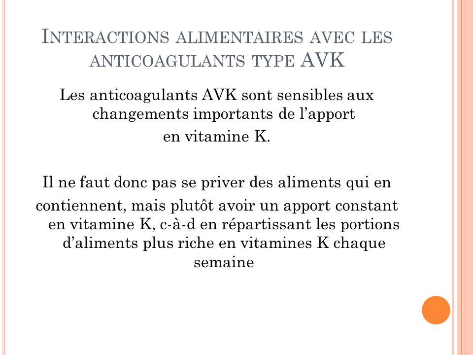 I NTERACTIONS ALIMENTAIRES AVEC LES ANTICOAGULANTS TYPE AVK Les anticoagulants AVK sont sensibles aux changements importants de l'apport en vitamine K