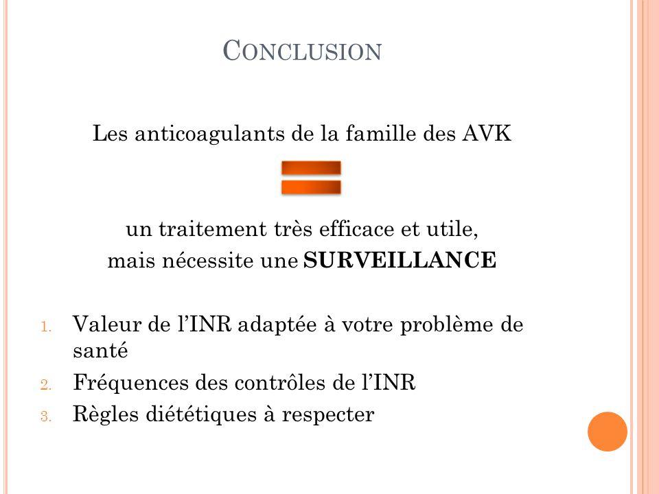 C ONCLUSION Les anticoagulants de la famille des AVK un traitement très efficace et utile, mais nécessite une SURVEILLANCE 1. Valeur de l'INR adaptée