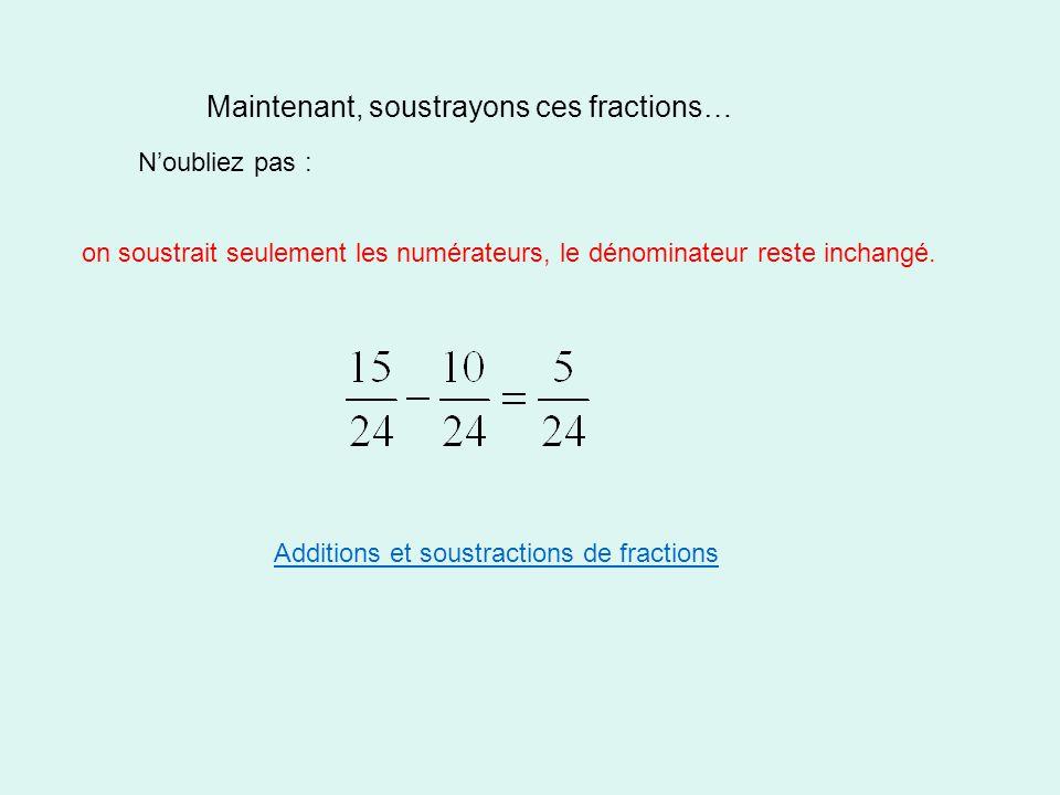 Maintenant, soustrayons ces fractions… N'oubliez pas : on soustrait seulement les numérateurs, le dénominateur reste inchangé. Additions et soustracti